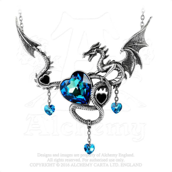 Welsh Dragon Necklace - Alchemy Gothic Draig O Gariad Necklace - Black and Blue Hearts Wild Celtic Passion