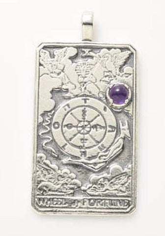 Wheel of Fortune Tarot Card Pendant with Amethyst Gemstone