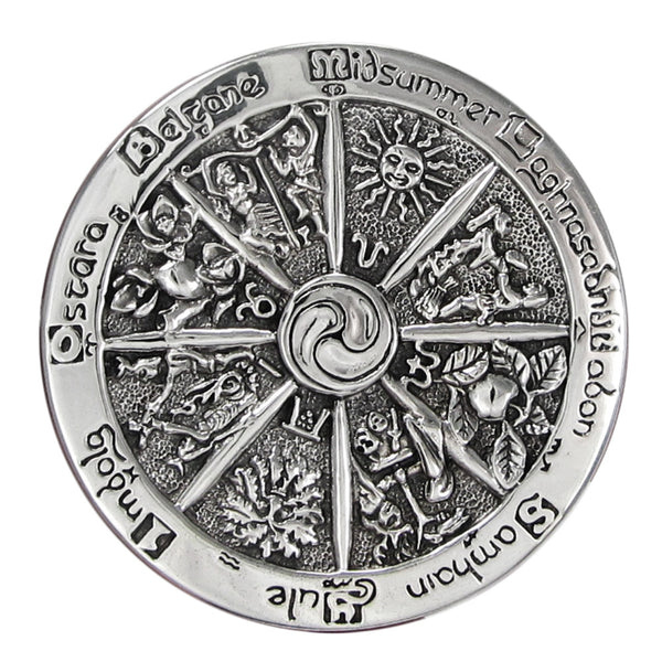 WHEEL of THE YEAR Brooch in .925 Sterling Silver - Dryad Design Cross Quarters Cloak Pin Brooch