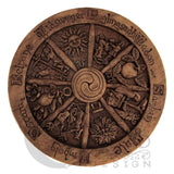 Wheel of the Year Wall Plaque - Large Wiccan Pagan Dryad Design Wood finish Sabbat craftwork - Pagan Art