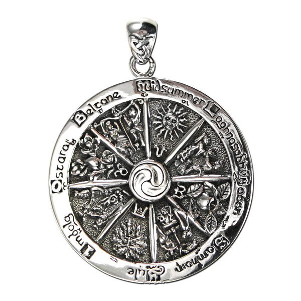 WHEEL of THE YEAR Pendant in .925 Sterling Silver - Dryad Design Cross Quarters Pagan Holidays Sabbats Pendant