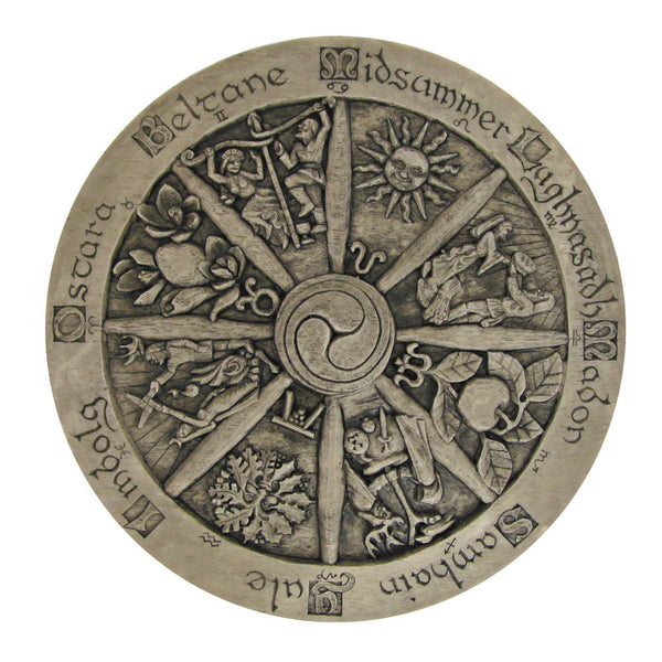 Wheel of the Year Wall Plaque - Large Wiccan Pagan Dryad Design Stone finish Sabbat craftwork - Pagan Art