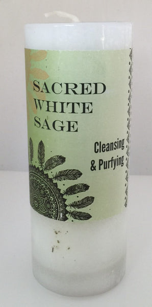 SACRED WHITE SAGE Candle Coventry Creations - PURIFY & BLESS Cleansing Pillar Candle