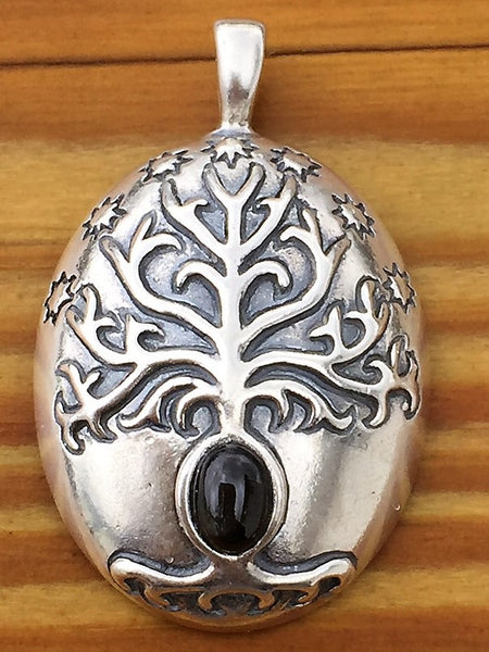 White Tree of Gondor Pendant in .925 Sterling Silver - Tolkien's Elendil Magick - Elven Faery Pendant with Black Star Diopside gem