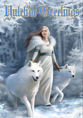 White Wolves YULE Card by Anne Stokes - Wolf Winter Guardians and Maiden SOLSTICE Holiday Card