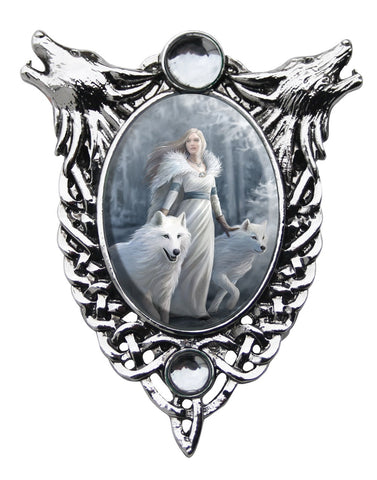 White Wolves Cameo Necklace Anne Stokes | Winter Guardians Maiden with Wolf Crystal Choker necklace