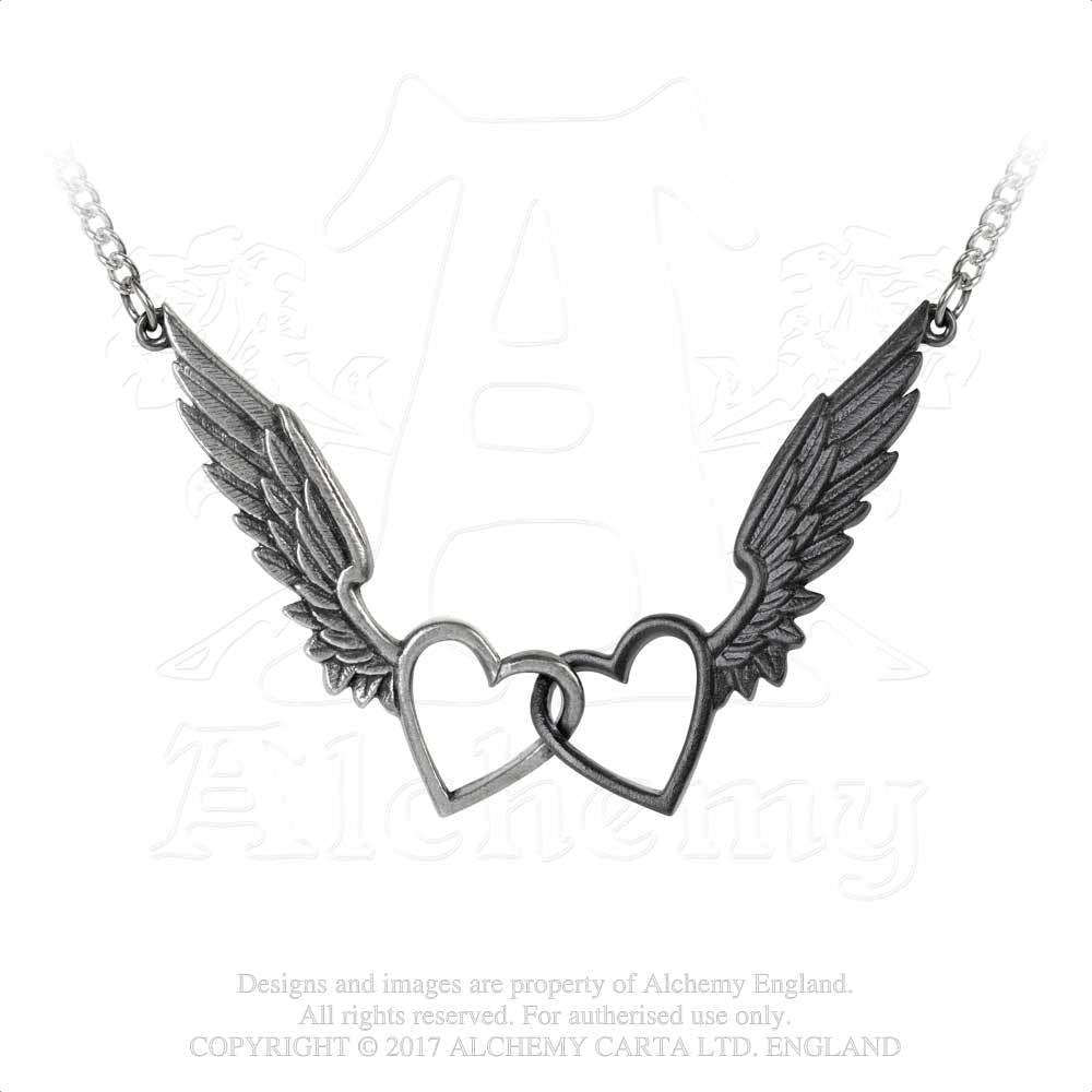 ava luminous necklace lucas dark products vintage pendant for chain wings in winged heart glow silver the angel color jewelry