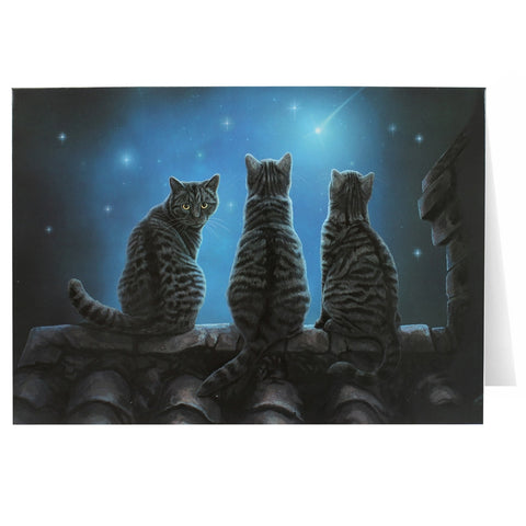 Gray Tabby Cat Greeting Card by Lisa Parker - 3 Kitties Wish Upon a Star Card - Star gazing Kitty
