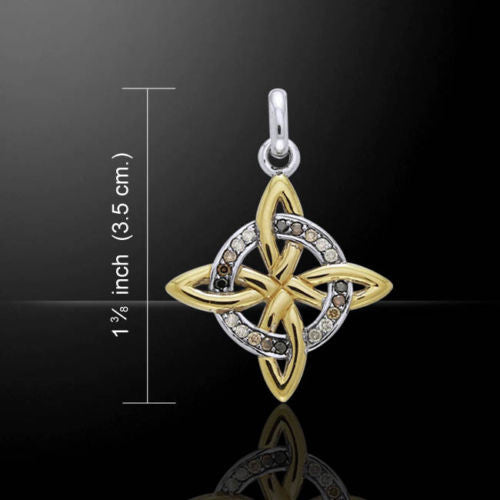 Celtic WITCHES Knot Pendant in 18k Gold Vermeil over .925 Sterling Silver - Quaternary Cross Quarters knot with Swarovski crystal