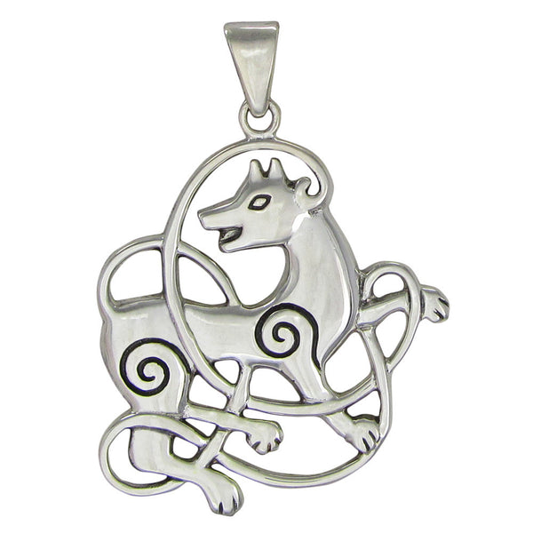Celtic WOLF Pendant .925 Sterling Silver - Dryad Design Odin's Norse Wolf Lunar energy amulet