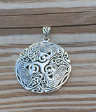 Celtic Wolf Pendant in .925 Sterling Silver - Norse Celtic Triskele Wolf energy amulet