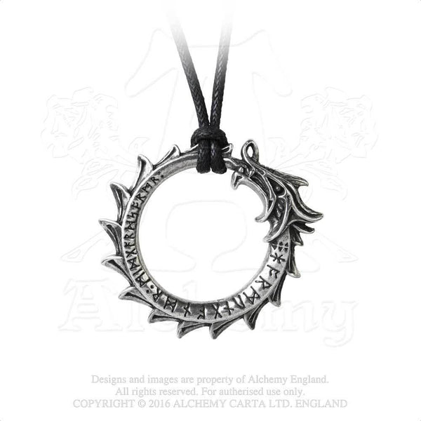 Jormungand Rune Pendant - Alchemy Gothic World Serpent Dragon - Viking Norse Midgard Ouroboros Necklace