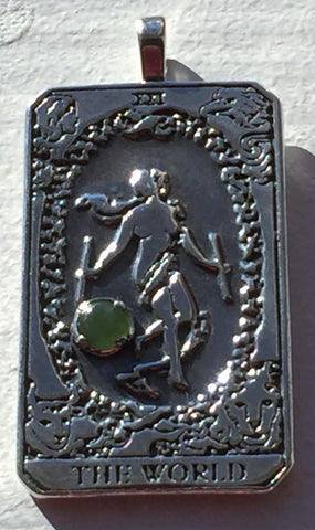 WORLD Tarot Card Pendant in .925 Sterling Silver with natural Jade Gemstone