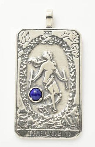 World Tarot Card Pendant with Lapis Lazuli gemstone