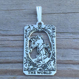 World Tarot Card Pendant .925 Sterling Silver - Small World Tarot Card Jewelry Made in USA