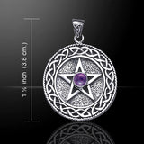 Celtic Knot PENTACLE Pendant in .925 Sterling Silver - solid background Pentagram w/ gemstone choice