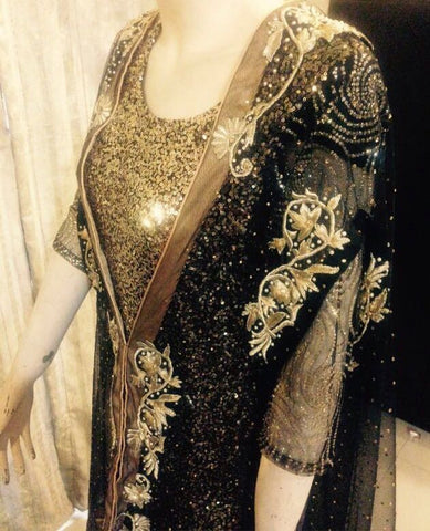 Pakistan Fancy Traditional Dress Party Wear Clothing Indian Bollywood Style Qameez Dupatta Black and Gold Gown Wedding Dress