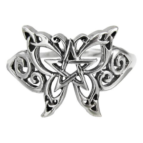 Butterfly Pentacle Ring in .925 Sterling Silver - Dryad Design Wiccan Pentagram Pagan Ring