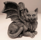 Medieval Cat Gargoyle Statue - Chimera Winged Kitty Figurine Gothic Home Decor Shelf Topper