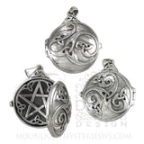 Celtic Pentacle Pendant Locket in solid Sterling Silver - Dryad Design Hidden Pentagram Triskele amulet