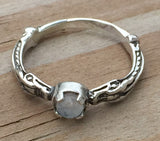 Celtic Dragon Ring in .925 Sterling Silver with natural Rainbow Moonstone gem - Serpent Dragon Ring