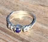 LION Ring in .925 Sterling Silver w/ natural Lapis Lazuli gem - Two-headed Medieval LION GODDESS ISHTAR Ring