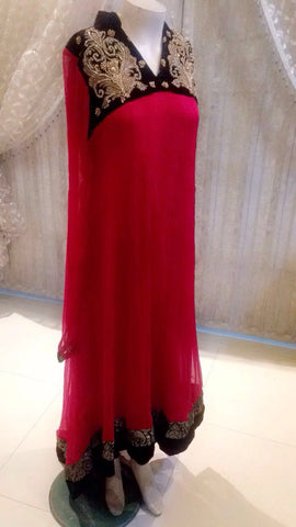 Fancy Dress Indian Pakistan Tradition Party Dress Bollywood Style Wedding Dress Hand Made Red Chiffon Shirt