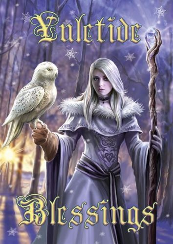 Snowy Owl Maiden Yule Card Anne Stokes - Winter Owl Yuletide Blessings Solstice Greeting Card