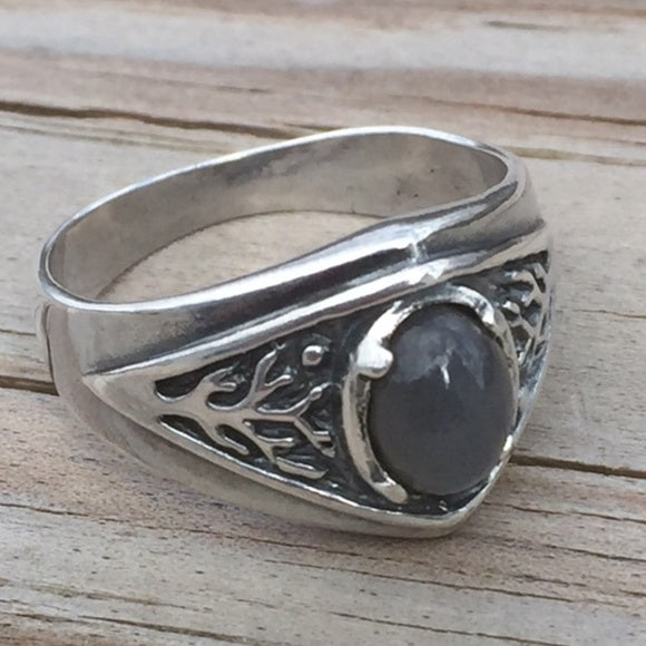 Celtic Tree of Life Ring Sterling Silver Pagan Druid World Tree Ring with a genuine Gray Moonstone gemstone