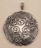 Celtic WOLF Pendant in White Bronze with Sterling Silver Plating - Norse Celtic Triskele Wolf energy amulet