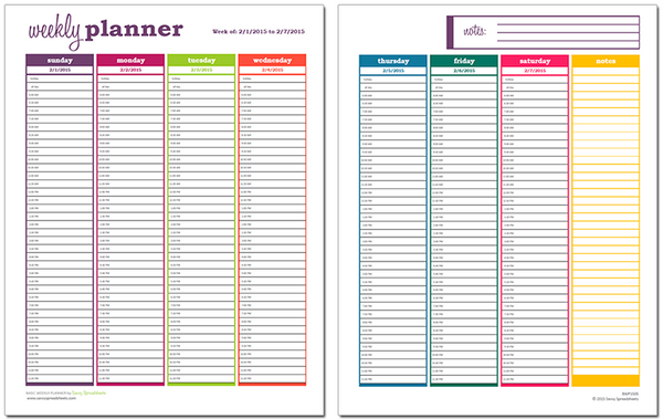 image relating to Free Weekly Planner referred to as 10 Free of charge Weekly Program Templates for Excel Savvy Spreadsheets