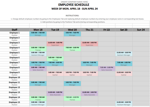10 Free Weekly Schedule Templates for Excel - Savvy ...