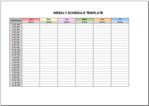 graphic about Weekly Schedule Template Printable named 10 Absolutely free Weekly Program Templates for Excel Savvy Spreadsheets