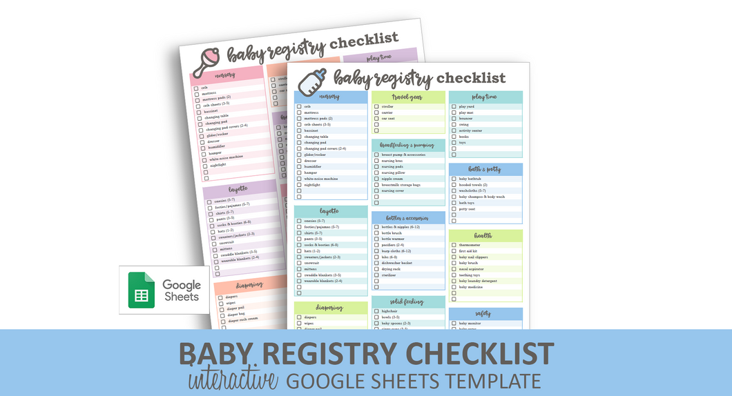 Baby Registry Checklist - Google Sheets Template