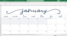 Load image into Gallery viewer, Elegant Monthly Calendar - Excel Template