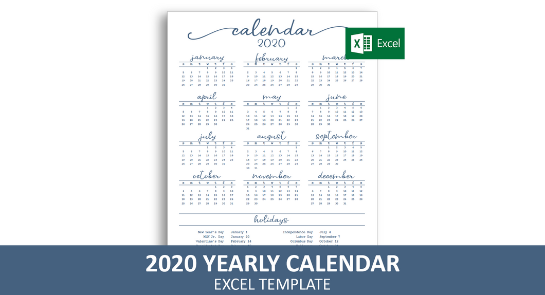 Elegant Yearly Calendar - Excel Template