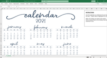 Load image into Gallery viewer, Elegant Yearly Calendar - Excel Template