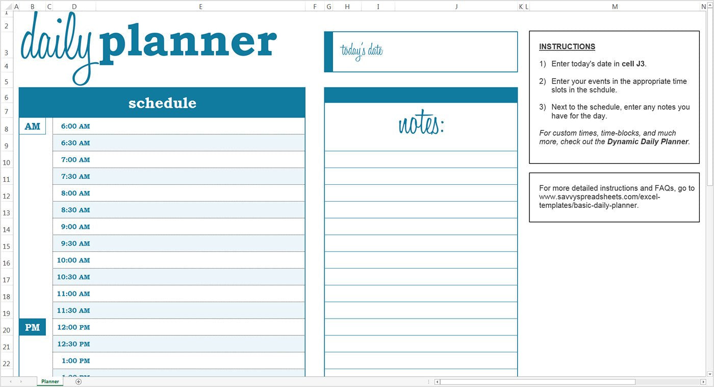 Basic Daily Planner Excel Template Savvy Spreadsheets
