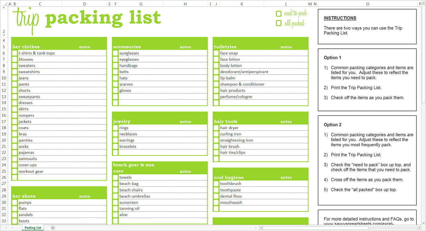 Trip Packing List - Excel Template – Savvy Spreadsheets