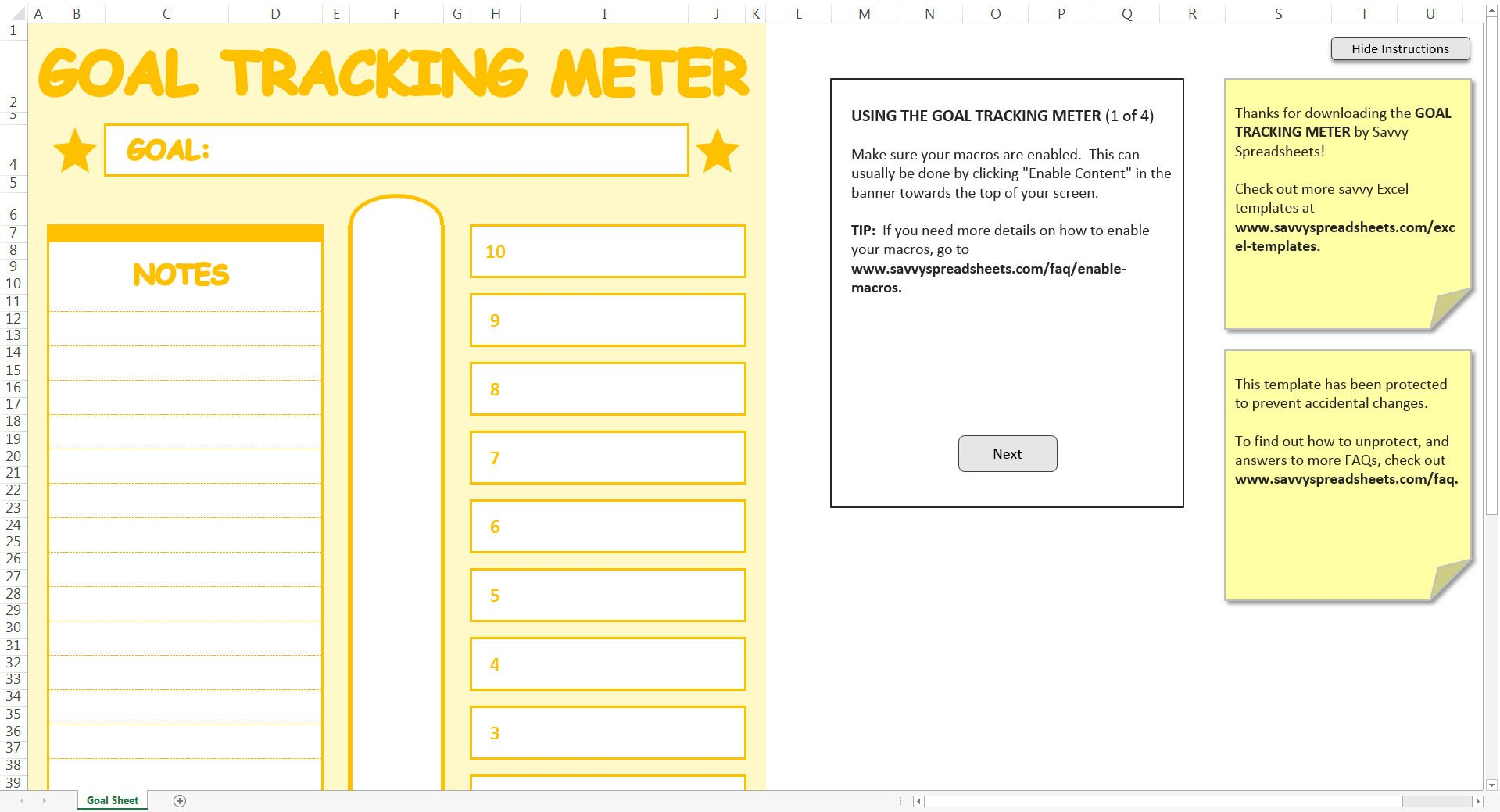 picture relating to Goal Tracker Template known as Objective Monitoring Meter - Excel Template Savvy Spreadsheets