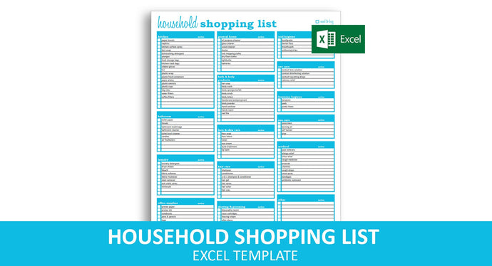 Household Shopping List - Excel Template