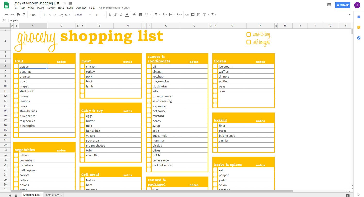 Grocery Shopping List - Google Sheets Template – Savvy