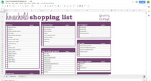 Load image into Gallery viewer, Household Shopping List - Google Sheets Template