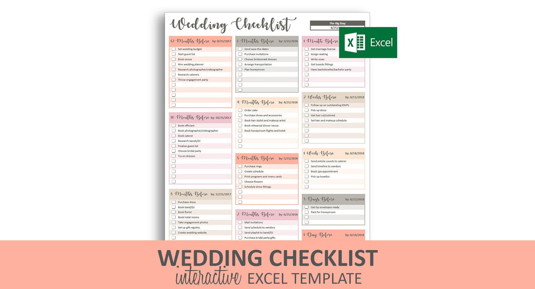 Peachy Wedding Checklist - Excel Template