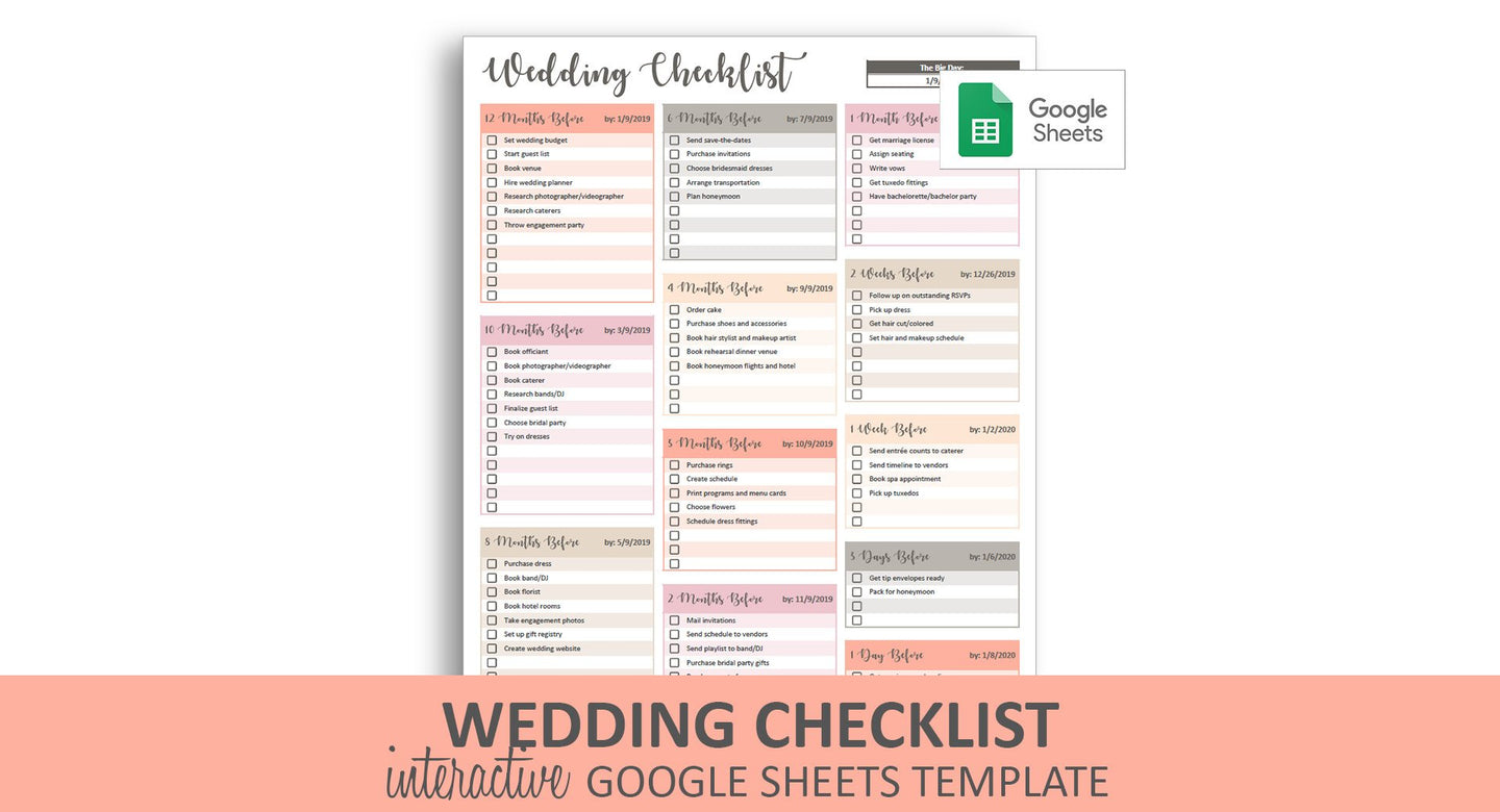 Peachy Wedding Checklist - Google Sheets Template