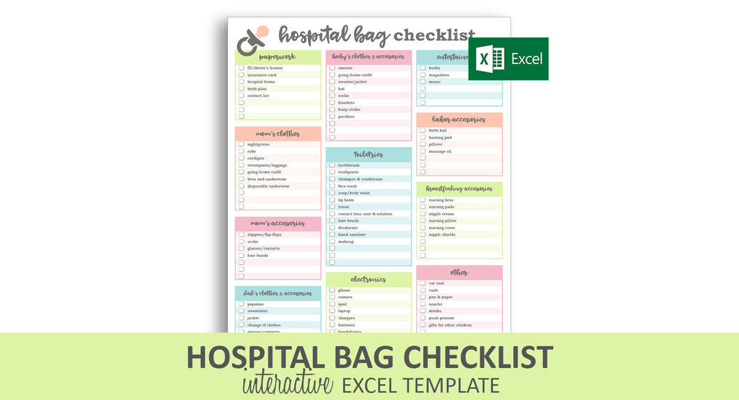 Hospital Bag Checklist - Excel Template