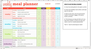 Weekly Meal Planner - Excel Template
