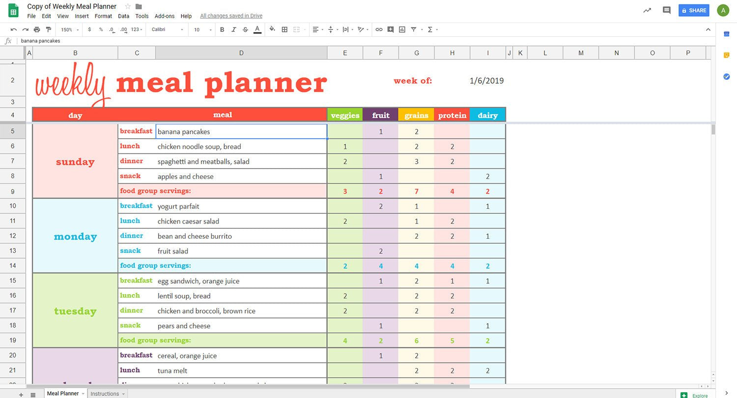 photo relating to Meal Planning Sheets called Weekly Evening meal Planner - Google Sheets Template Savvy