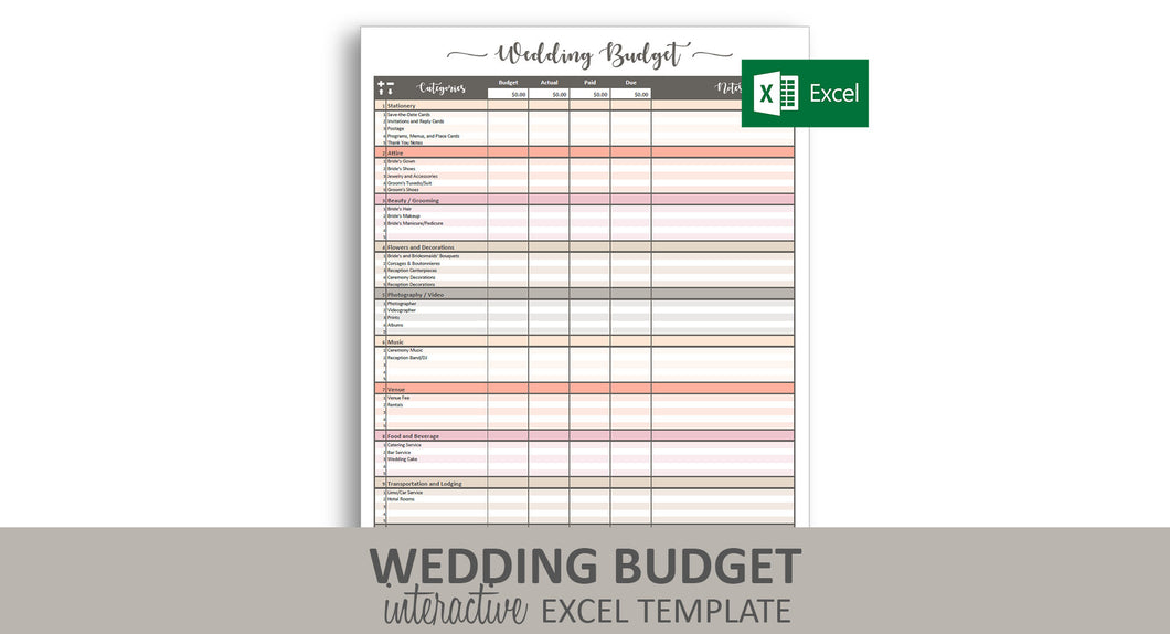Peachy Wedding Budget - Excel Template