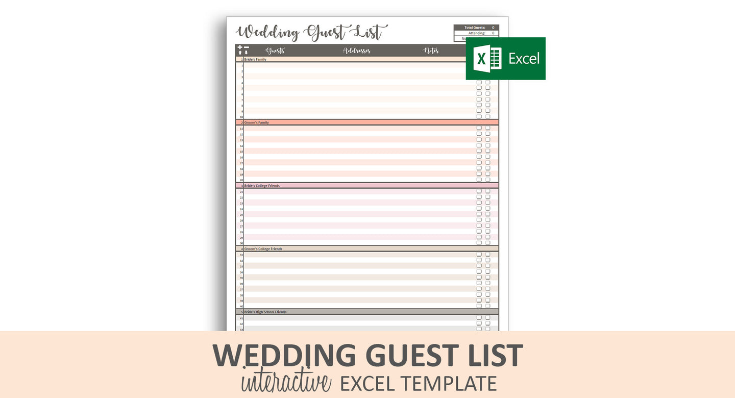 Peachy Wedding Guest List - Excel Template